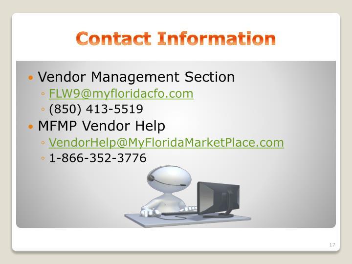 Vendor Management Section