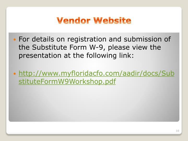 Vendor Website
