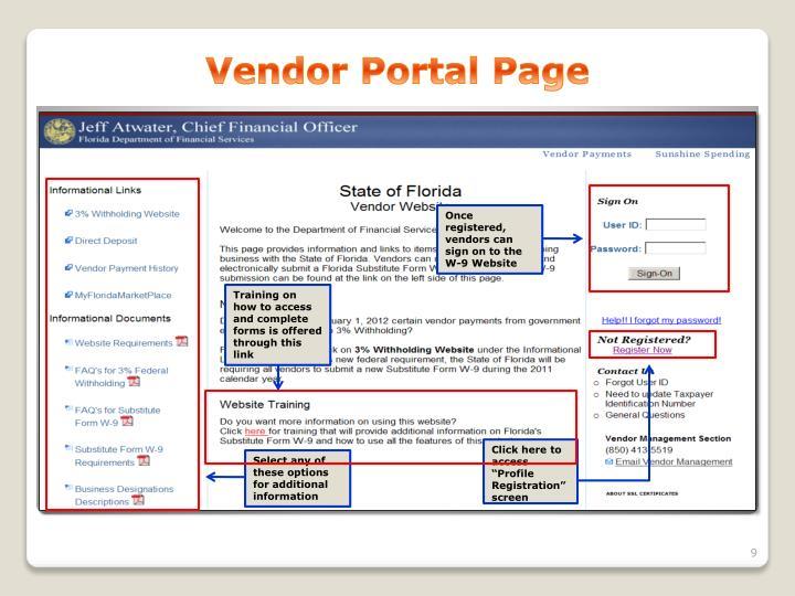 Vendor Portal Page