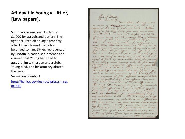 Affidavit in Young v. Littler, [Law papers].