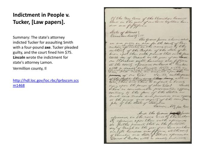 Indictment in People v. Tucker, [Law papers].