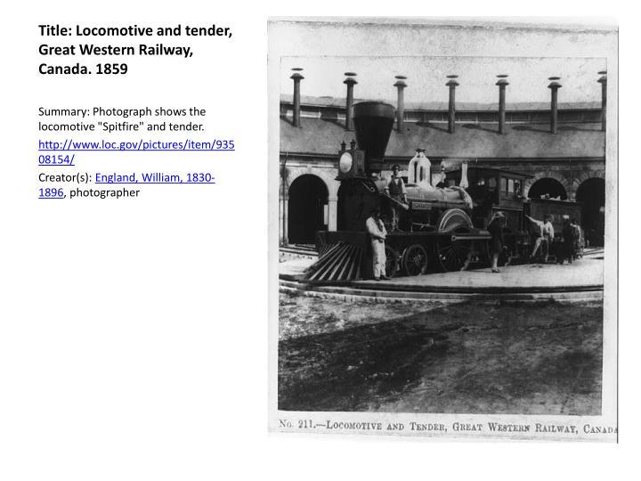 Title: Locomotive and tender, Great Western Railway,