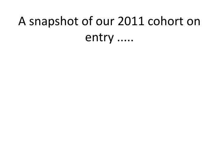 A snapshot of our 2011 cohort on entry .....