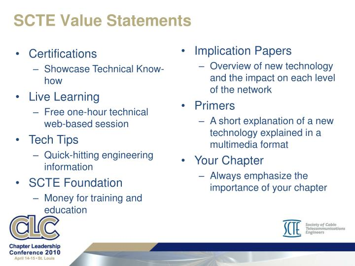 SCTE Value Statements