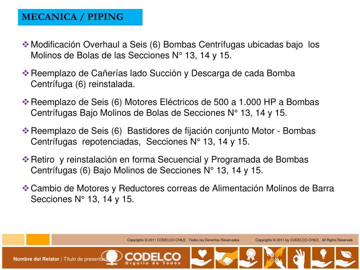 MECANICA / PIPING