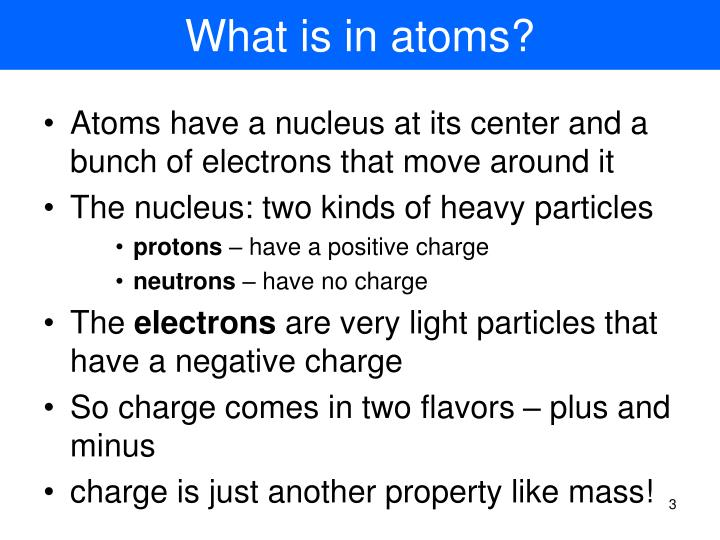 What is in atoms?