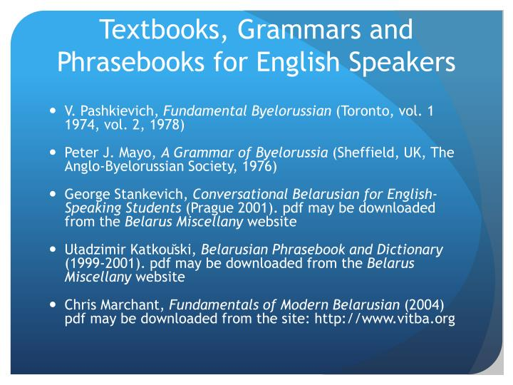 Textbooks, Grammars and Phrasebooks for English Speakers