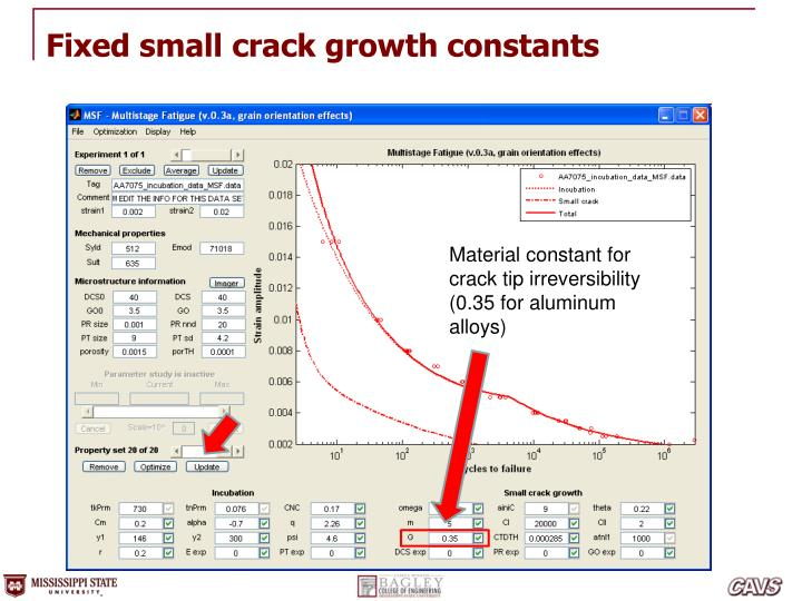 Fixed small crack growth constants