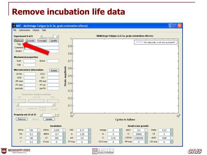 Remove incubation life data