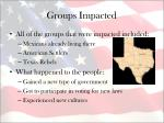 groups impacted