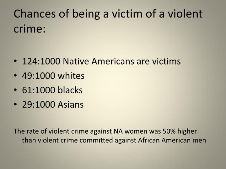 Chances of being a victim of a violent crime: