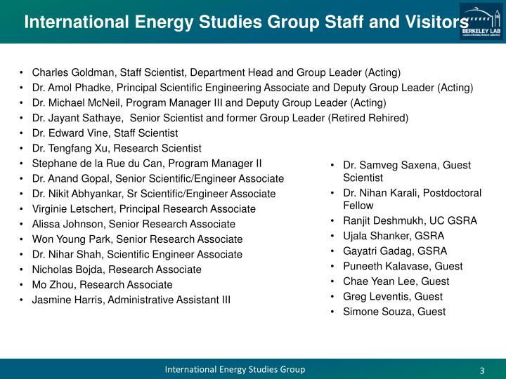 International energy studies group staff and visitors