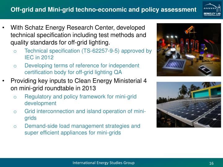 Off-grid and Mini-grid techno-economic and policy assessment