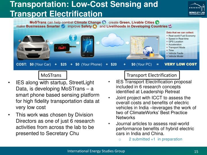 Transportation: Low-Cost Sensing and Transport Electrification