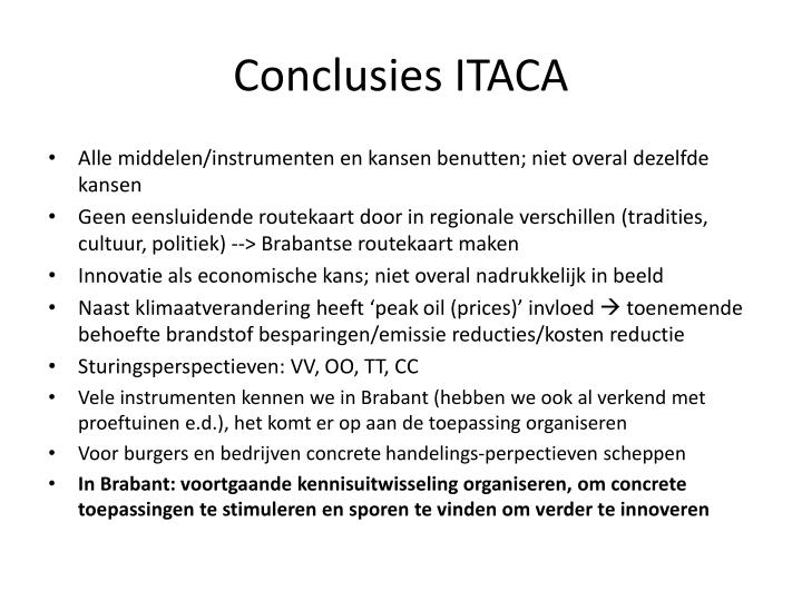 Conclusies ITACA