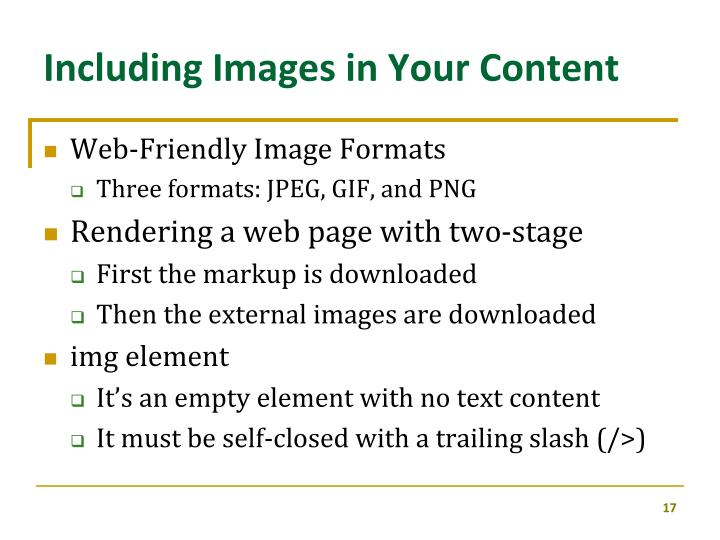 Including Images in Your Content