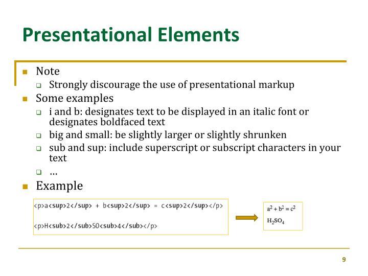 Presentational Elements
