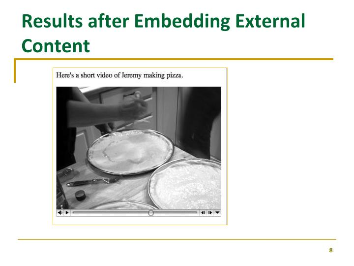 Results after Embedding External Content
