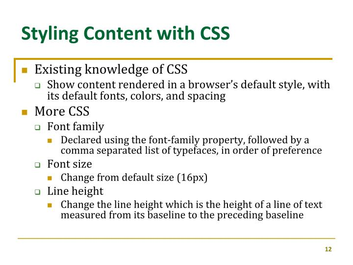 Styling Content with CSS