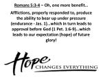 romans 5 3 4 oh one more benefit4