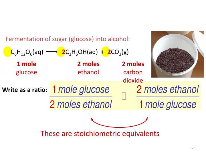 Fermentation of sugar (glucose) into alcohol: