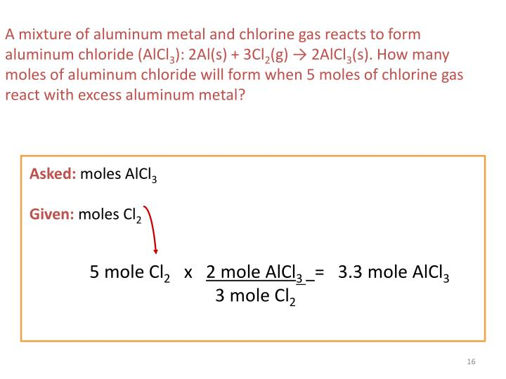 A mixture of aluminum metal and chlorine gas reacts to form aluminum chloride (AlCl