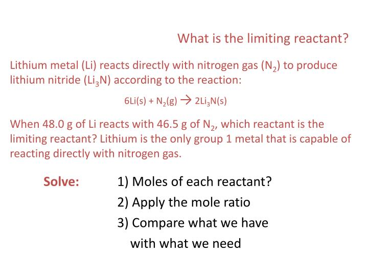 What is the limiting reactant?