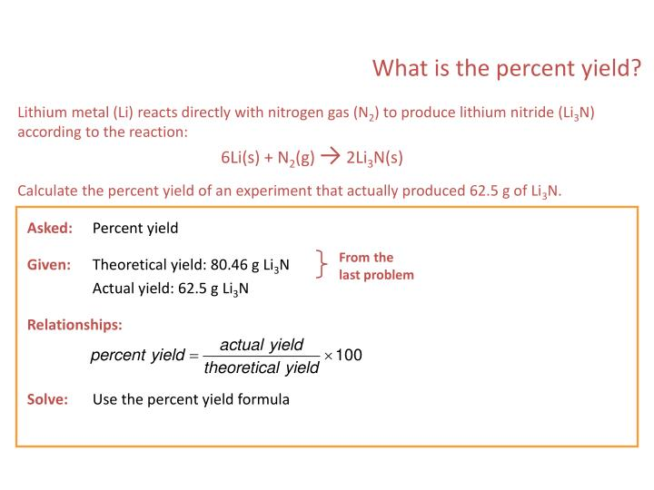 What is the percent yield?
