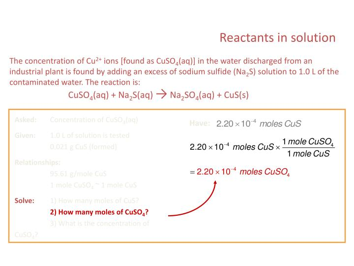 Reactants in solution