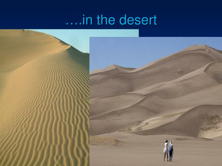 ….in the desert