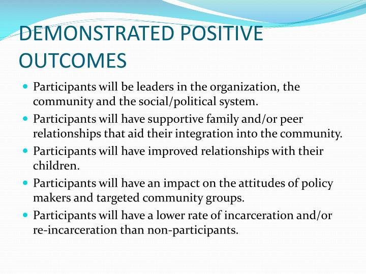 DEMONSTRATED POSITIVE OUTCOMES