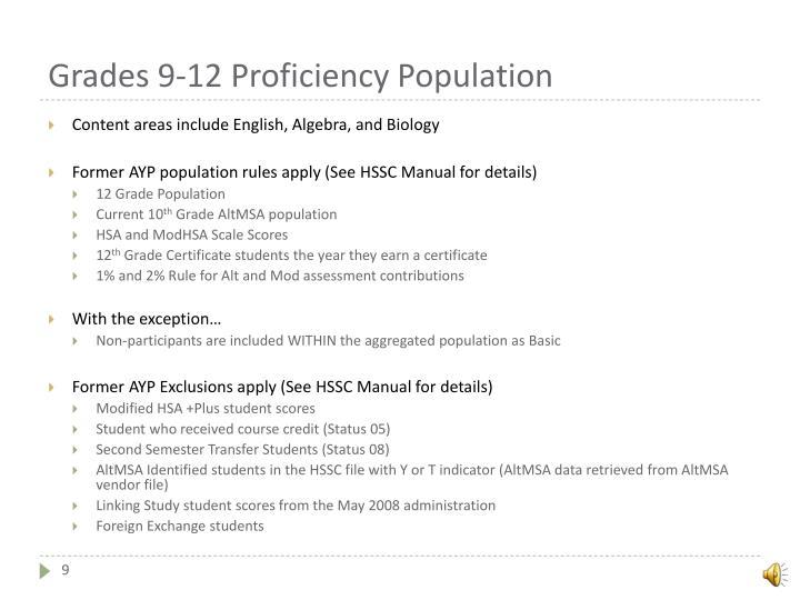 Grades 9-12 Proficiency Population