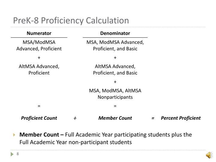 PreK-8 Proficiency Calculation