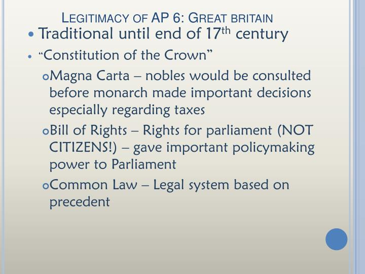Legitimacy of AP 6: Great