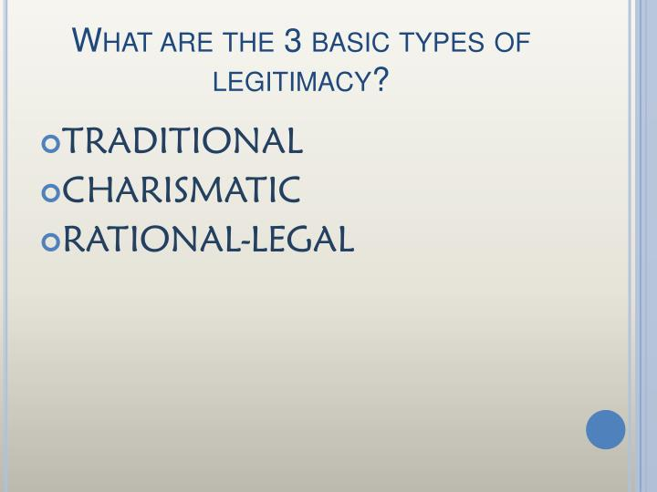 What are the 3 basic types of legitimacy?