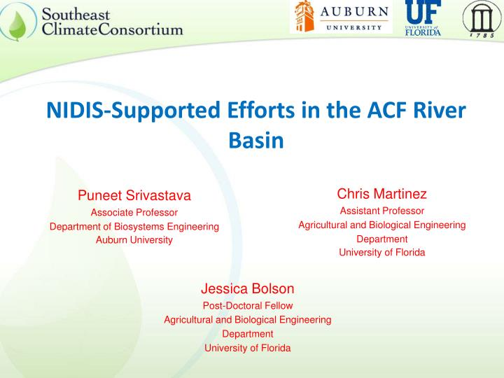 Nidis supported efforts in the acf river basin