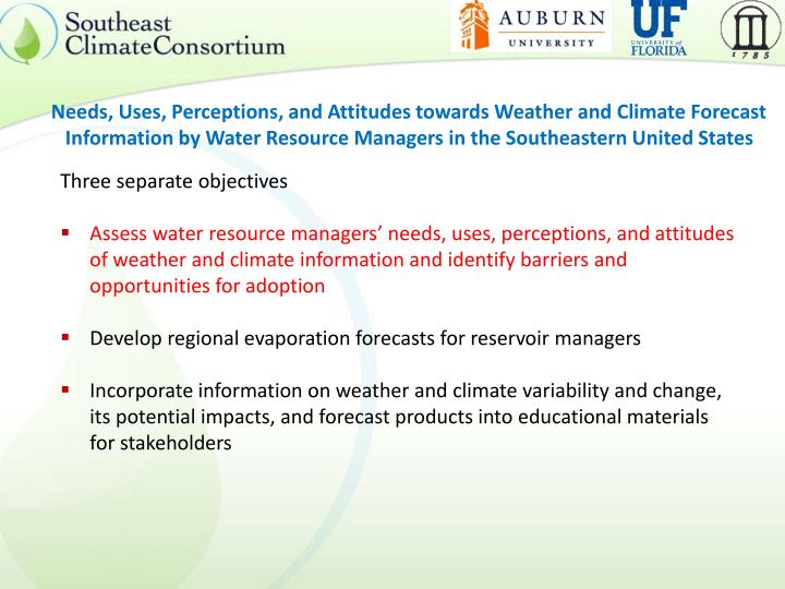 Needs, Uses, Perceptions, and Attitudes towards Weather and Climate Forecast Information by Water Resource Managers in the Southeastern United States