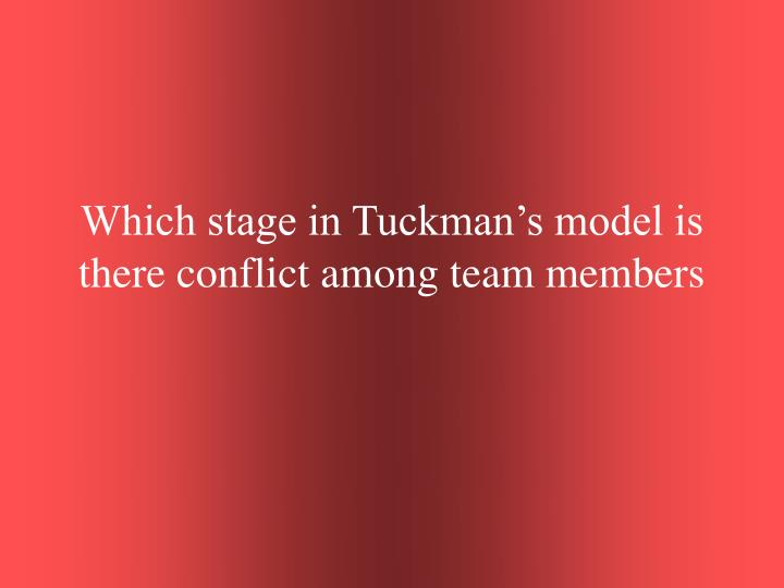 Which stage in Tuckman's model is there conflict among team members