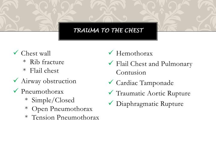 Trauma to the chest