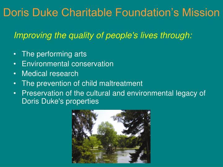 Doris Duke Charitable Foundation's Mission