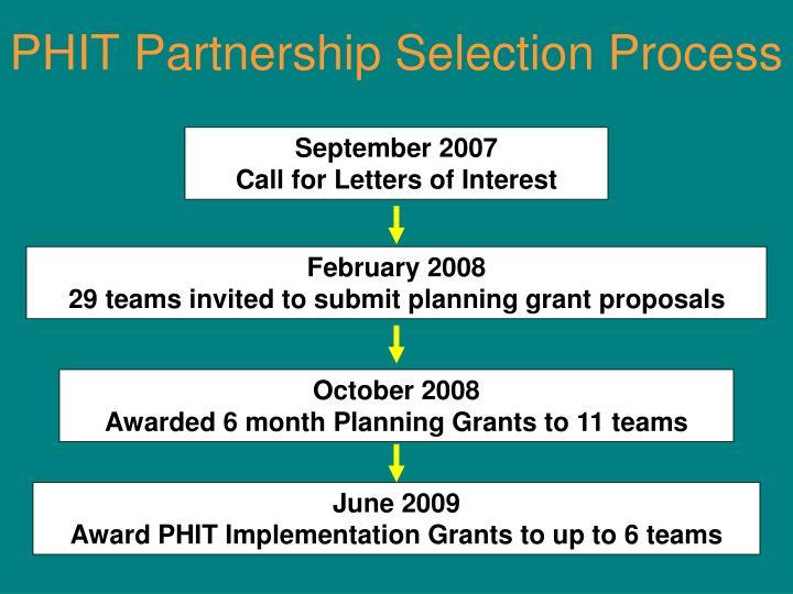 PHIT Partnership Selection Process