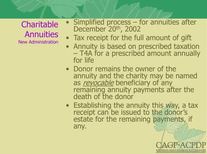 Charitable Annuities