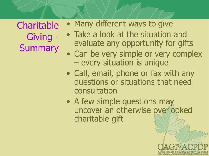 Charitable Giving - Summary