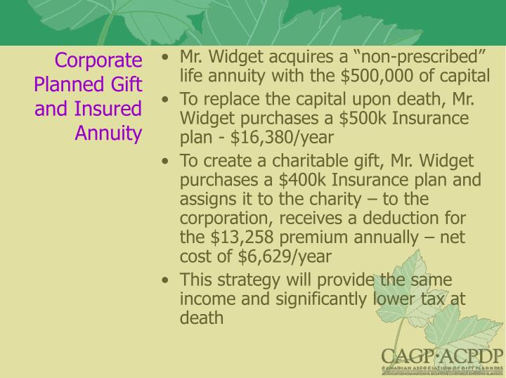 Corporate Planned Gift and Insured Annuity