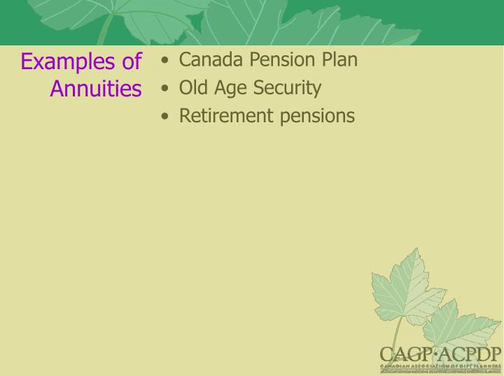 Examples of Annuities