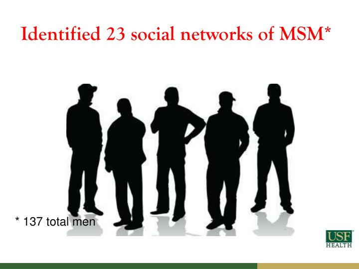 Identified 23 social networks of MSM*