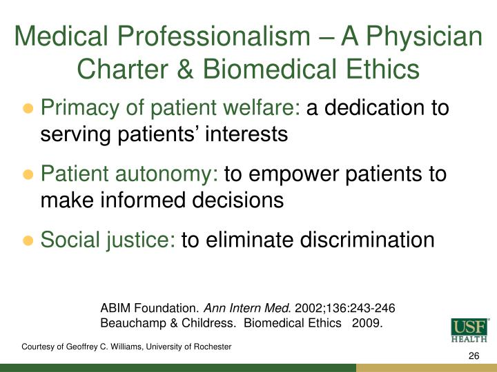 Medical Professionalism – A Physician Charter & Biomedical Ethics