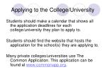 applying to the college university