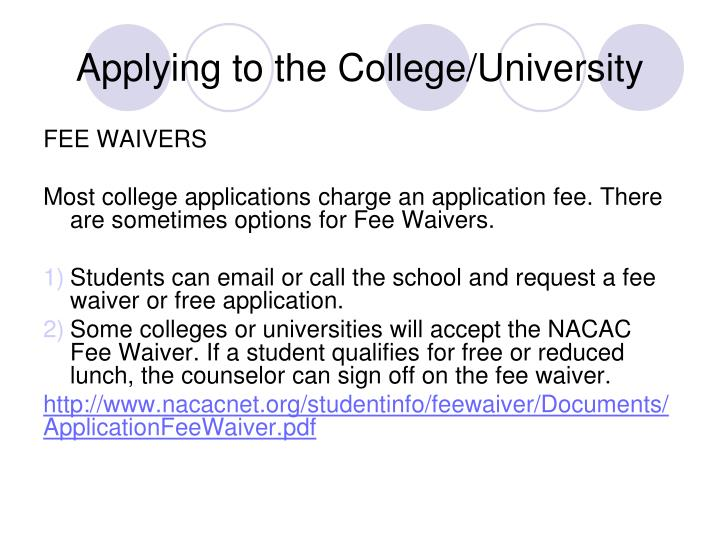 Applying to the College/University