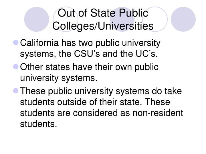 Out of State Public Colleges/Universities